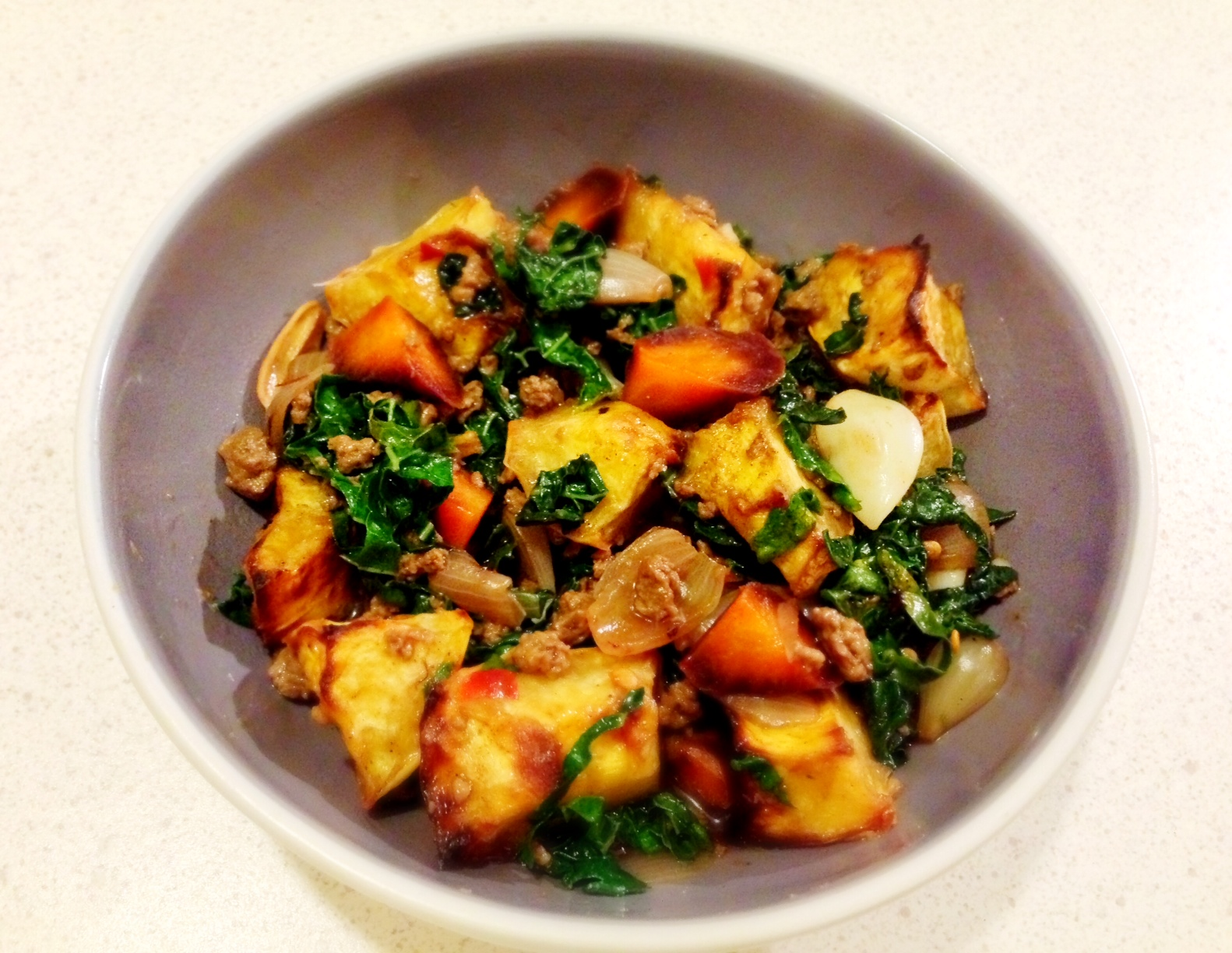 Chinese Styled Pumpkin Stew with Kale and Mince