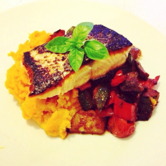 salmon fillet with ratatouille and sweet potato mash
